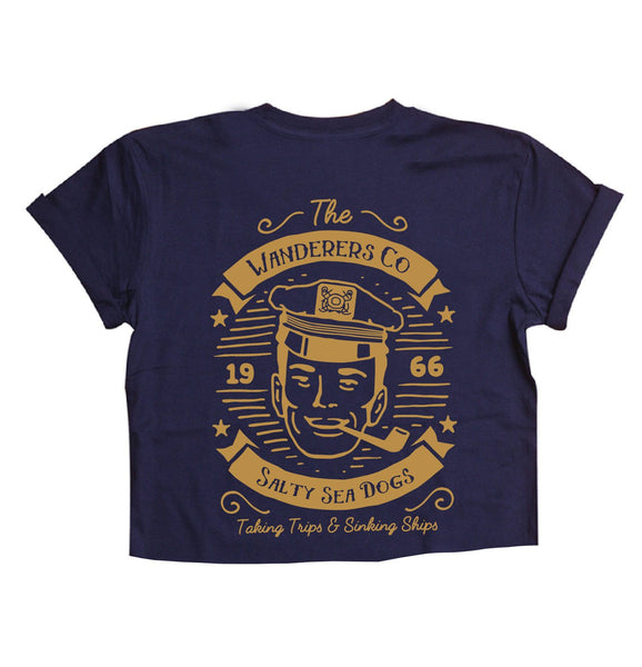 WANDERERS CO. - Salty Seas Dogs Crop Tee - Navy