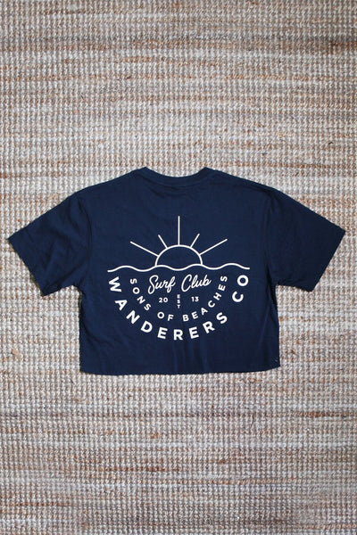 WANDERERS CO. - Surf Club Crop Tee - Navy