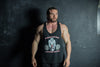 Vintage Muscle Vest Black With Old School Red Logo
