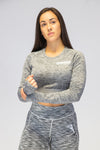 Primitive Long Sleeve Crop T Grey