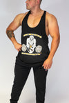 Caveman Muscle Vest Black & Orange