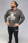 Caveman Sweat Shirt Charcoal & Red. Sizes Upto 3XL