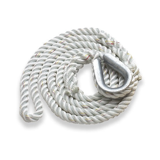 New England Ropes 3/4in (18mm) Mooring Pennant White - 15ft Long