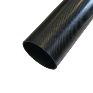 Round Carbon Tubing - Twill Shiny Resin Finish - 2in ID - 0.058in Wall