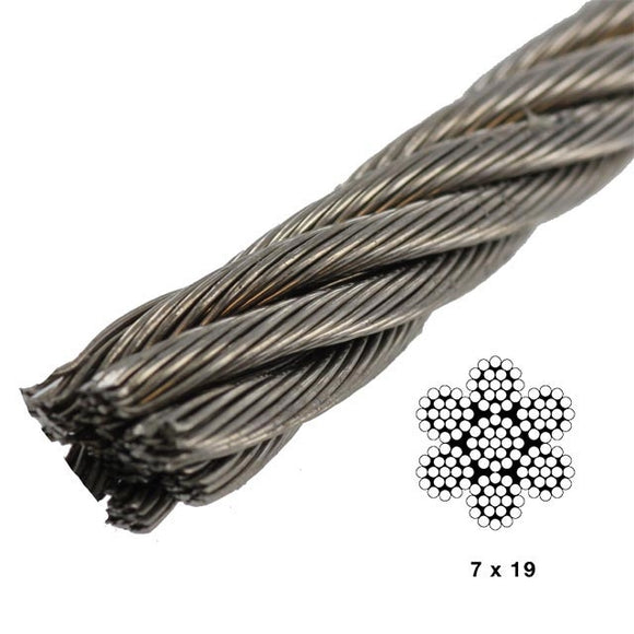 Stainless Steel 7x19 Wire - Grade 316 -1/4in