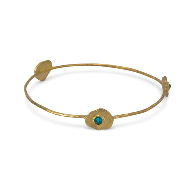 Brass and Reconstituted Turquoise Bangle - Cane And Camilla