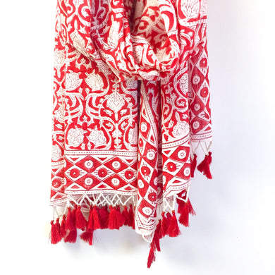 Block Print Scarf with Beads - Cane And Camilla