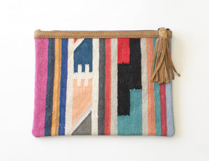 Large Dhurrie Clutch - Cane And Camilla