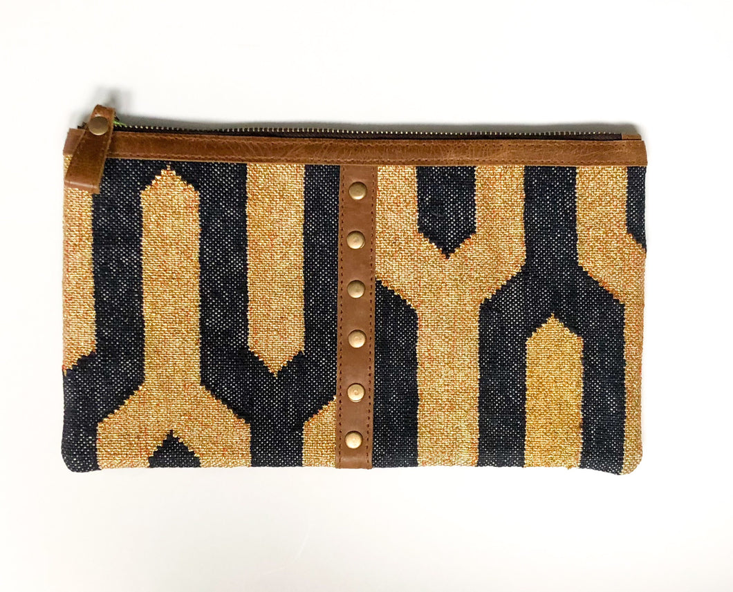 Leather Trim Dhurrie Clutch