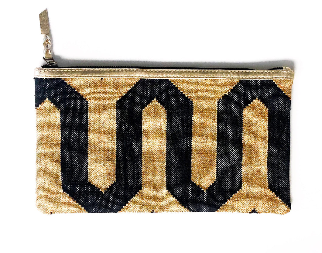 Dhurrie Clutch-Gold Trim
