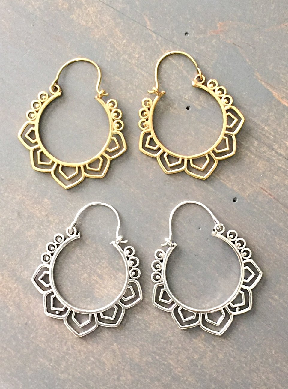 Tribal Lotus Earrings - Cane And Camilla