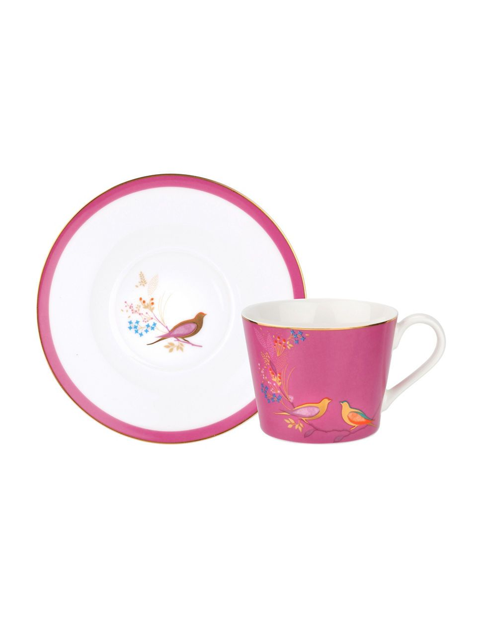 Chelsea Pink Birds, Teacup & Saucer, SARA MILLER LONDON-VONMEL Luxe Gifts