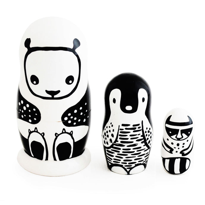 Nesting Dolls, Black & White Animals, WEE GALLERY-VONMEL Luxe Gifts