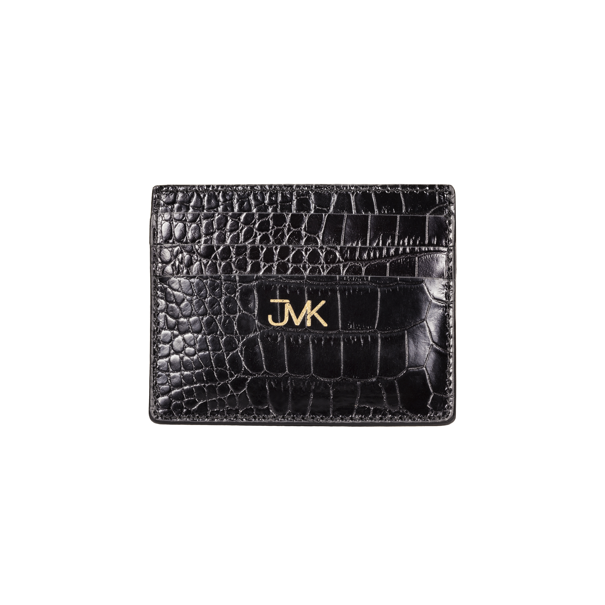 Card Holder - 6 Slots, Croco Leather Black/Black, MAISON JMK-VONMEL Luxe Gifts