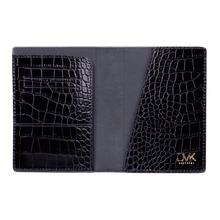 Passport Holder, Croco Leather Black, MAISON JMK-VONMEL Luxe Gifts