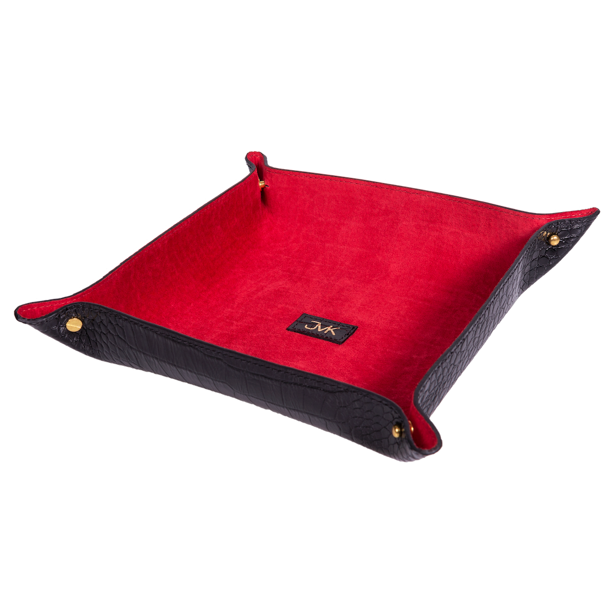 Change Tray, Croco Leather Black/Red, MAISON JMK-VONMEL Luxe Gifts