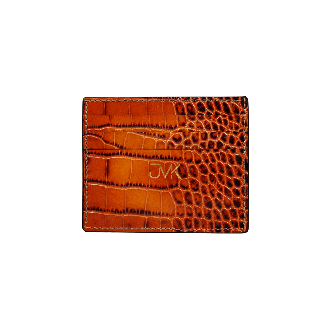 Card Holder - 6 Slots, Croco Leather Tan, MAISON JMK-VONMEL Luxe Gifts