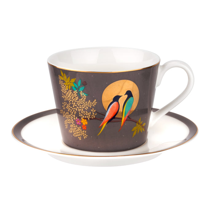 Chelsea Grey Birds, Teacup & Saucer, SARA MILLER LONDON-VONMEL Luxe Gifts