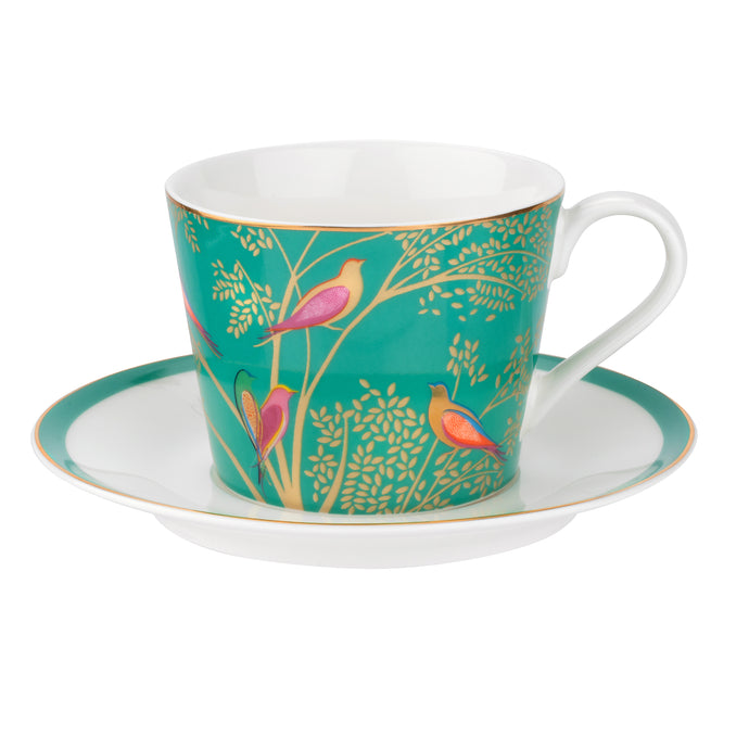 Chelsea Green Birds, Tea Cup & Saucer, SARA MILLER LONDON-VONMEL Luxe Gifts