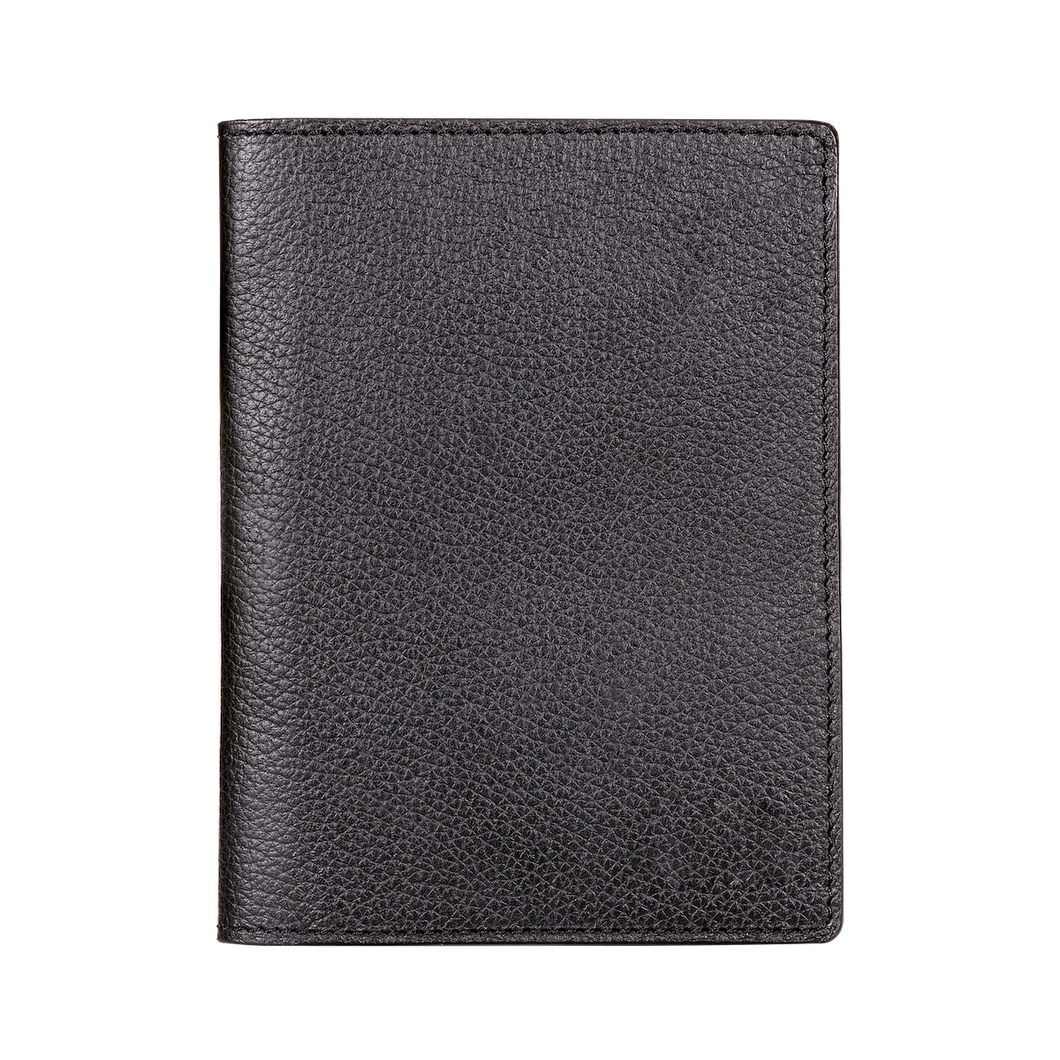 Passport Holder, Grain Leather Black, MAISON JMK-VONMEL Luxe Gifts