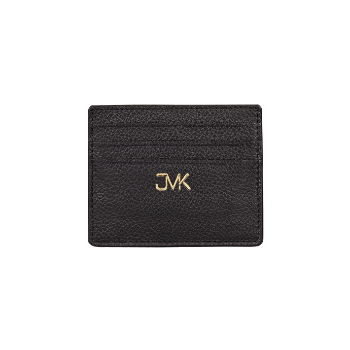 Card Holder - 6 Slots, Grain Leather Black/Black, MAISON JMK-VONMEL Luxe Gifts