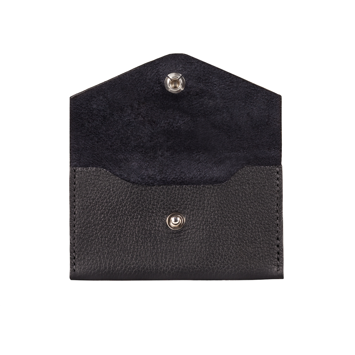 Business Card Holder, Grain Leather Black/Black, MAISON JMK-VONMEL Luxe Gifts