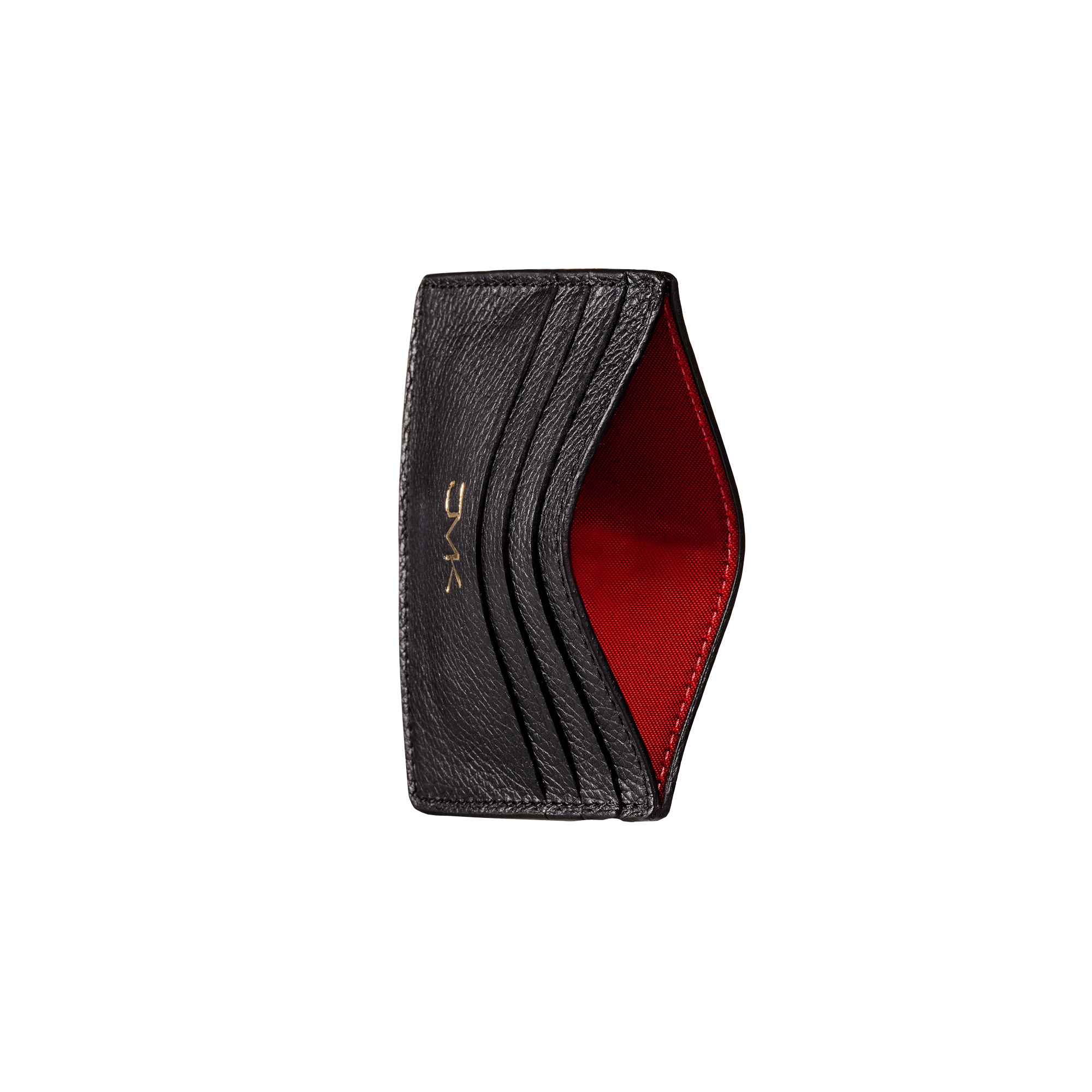 Card Holder - 6 Slots, Grain Leather Black/Red, MAISON JMK-VONMEL Luxe Gifts