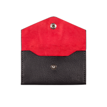 Business Card Holder, Grain Leather Black/Red, MAISON JMK-VONMEL Luxe Gifts