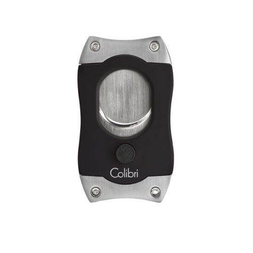 S-Cut Cigar Cutter, Black/Brush Chrome, COLIBRI-VONMEL Luxe Gifts