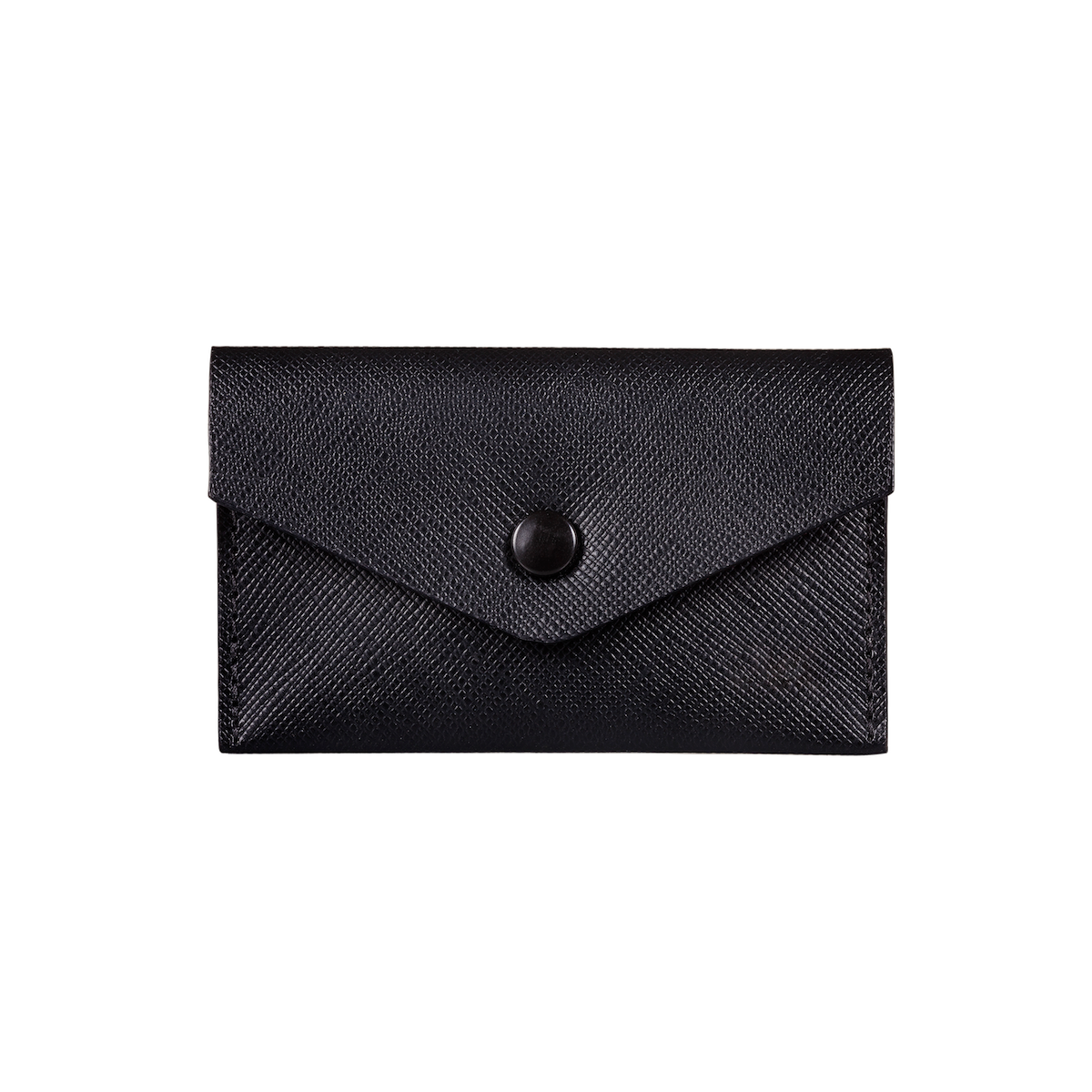 Business Card Holder, Saffiano Leather Black/Black, MAISON JMK-VONMEL Luxe Gifts