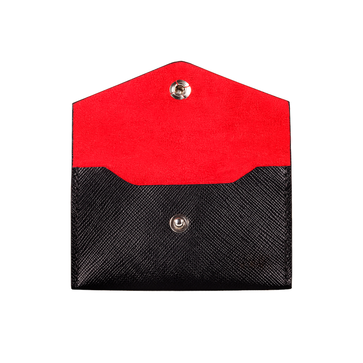 Business Card Holder, Saffiano Leather Black/Red, MAISON JMK-VONMEL Luxe Gifts