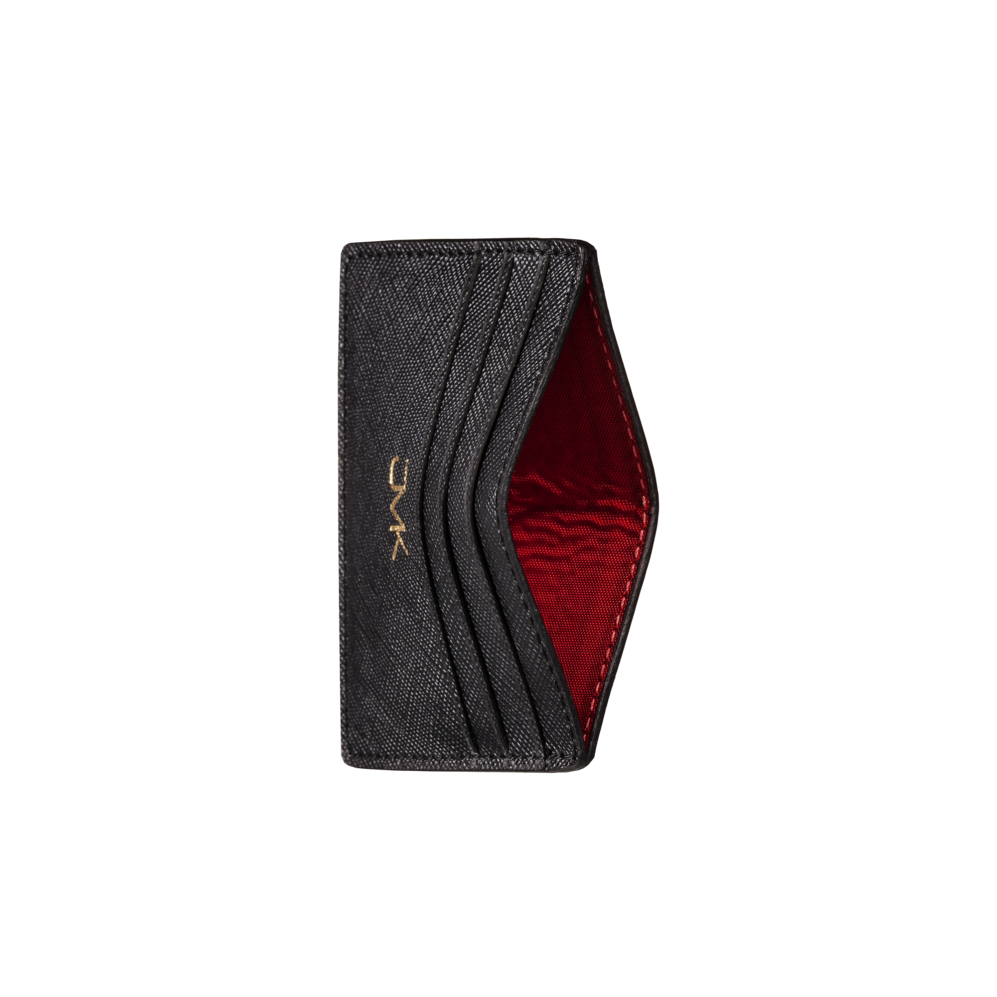 Card Holder - 6 Slots, Saffiano Leather Black/Red, MAISON JMK-VONMEL Luxe Gifts