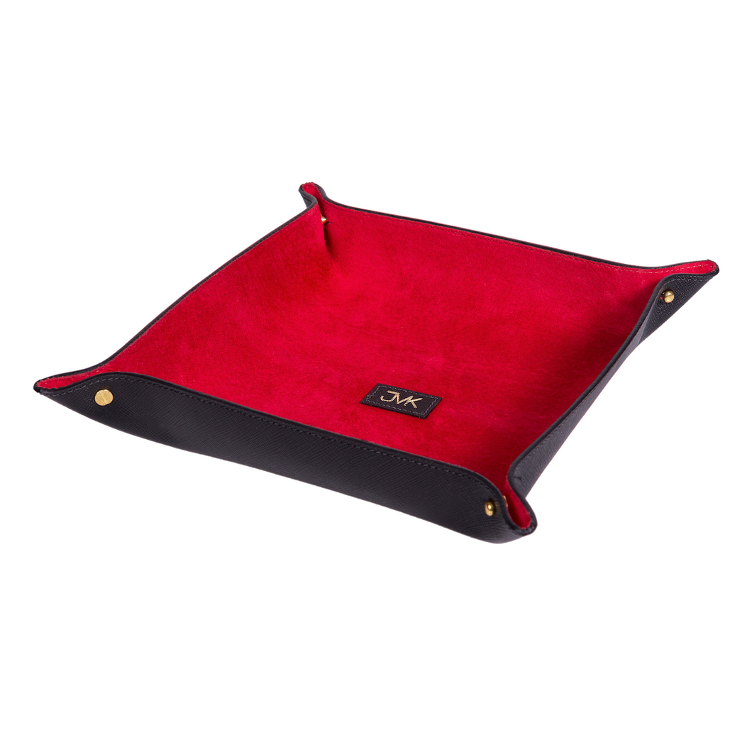 Change Tray, Saffiano Leather Black/Red, MAISON JMK-VONMEL Luxe Gifts