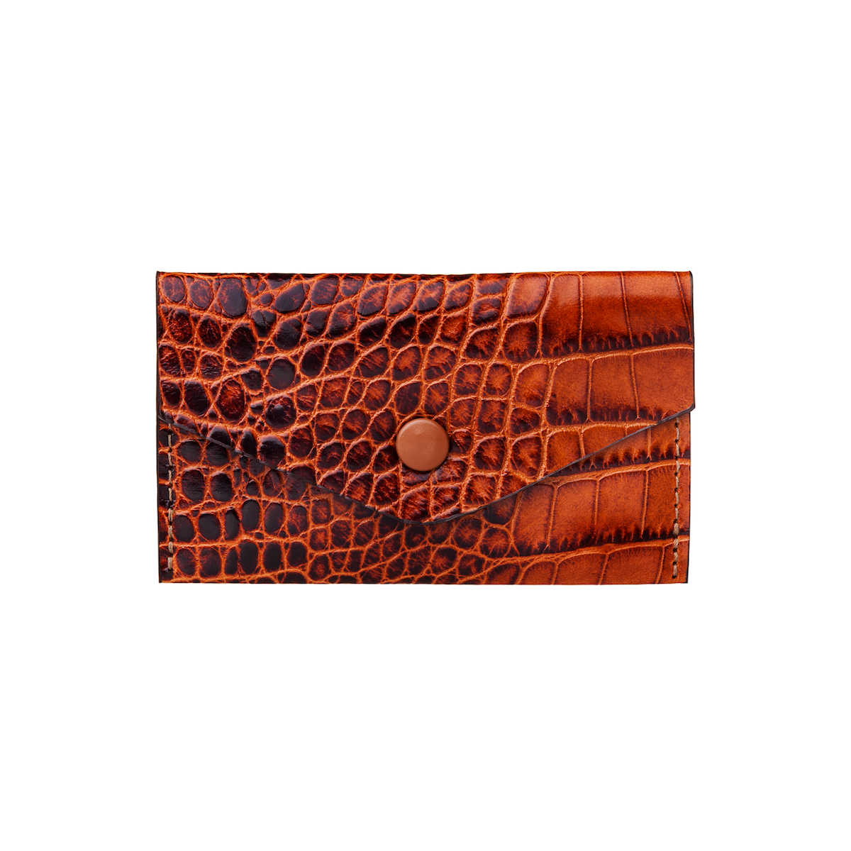 Business Card Holder, Croco Leather Tan/Brown, MAISON JMK-VONMEL Luxe Gifts