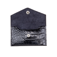 Business Card Holder, Croco Leather Black/Black, MAISON JMK-VONMEL Luxe Gifts
