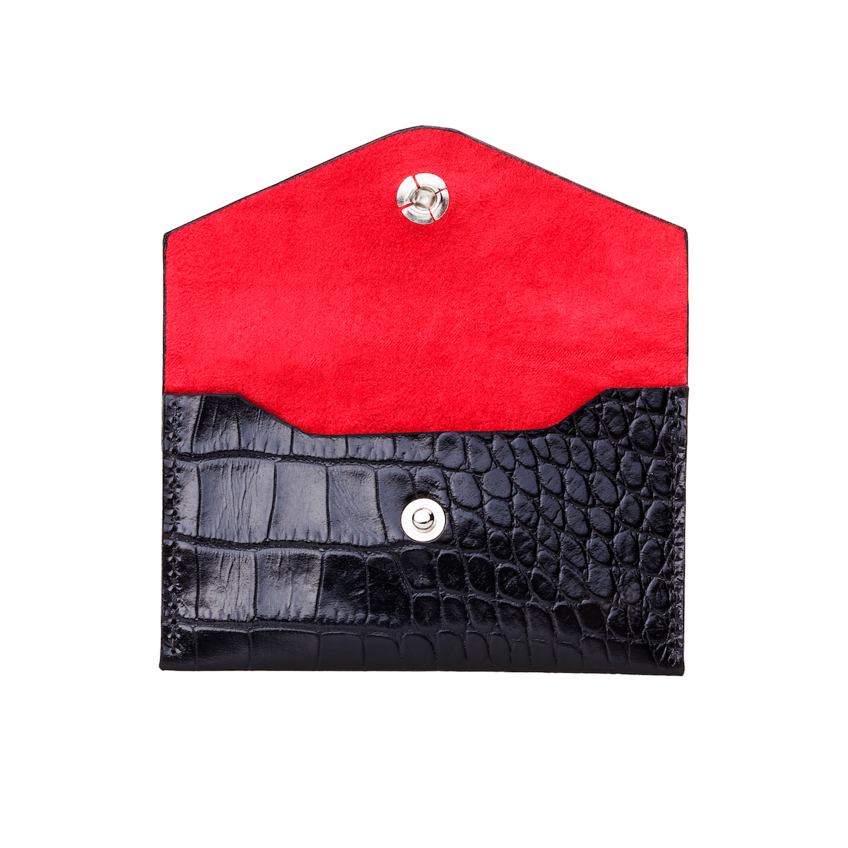 Business Card Holder, Croco Leather Black/Red, MAISON JMK-VONMEL Luxe Gifts