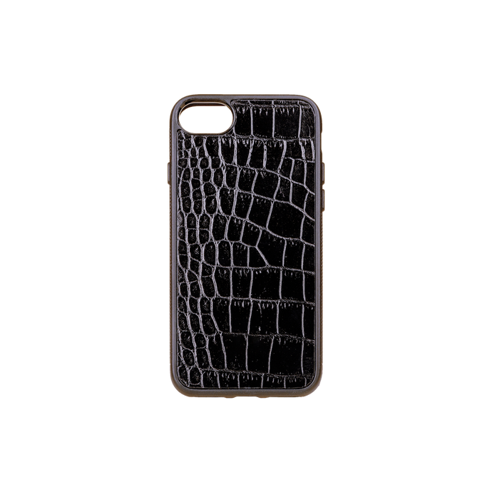 Iphone 7/8 Case, Black Croco Leather, MAISON JMK-VONMEL Luxe Gifts