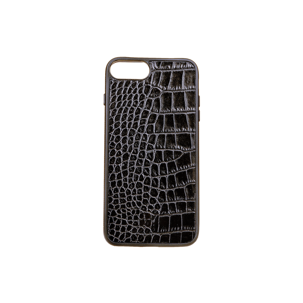 Iphone 7/8 Plus Case, Black Croco Leather, MAISON JMK-VONMEL Luxe Gifts