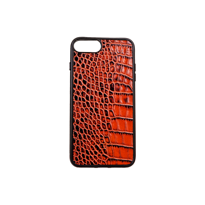 Iphone 7/8 Plus Case, Tan Croco Leather, MAISON JMK-VONMEL Luxe Gifts