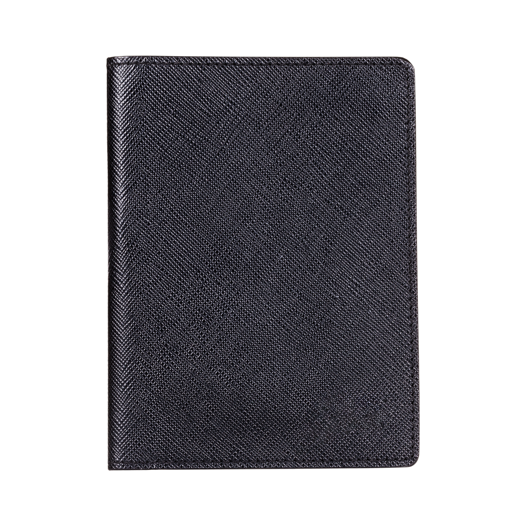 Passport Holder, Saffiano Leather Black, MAISON JMK-VONMEL Luxe Gifts