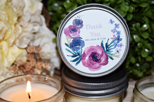 Purple Watercolor Floral Soy Candle Favor- One Dozen, $4.95 each