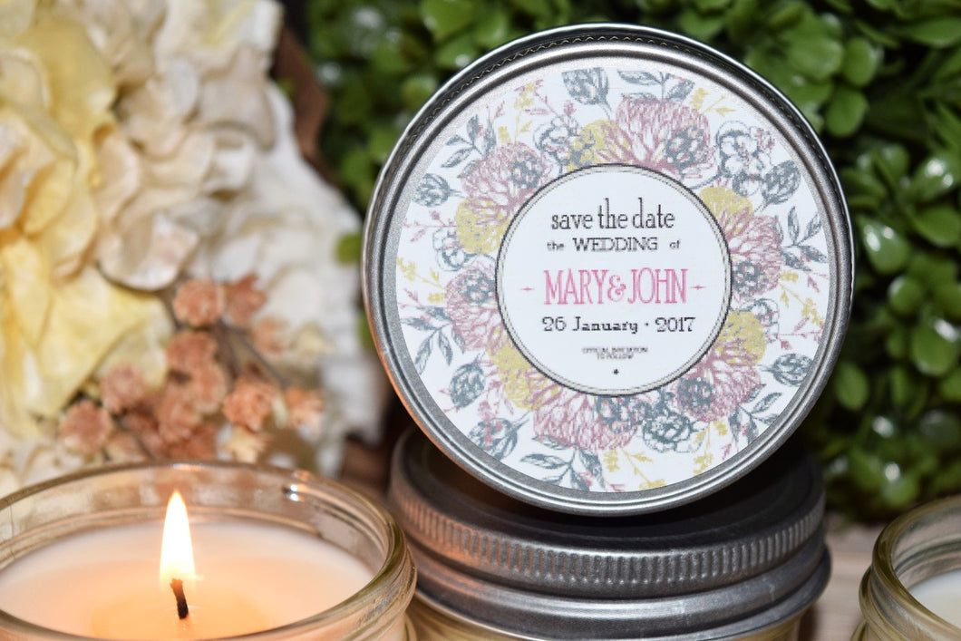 Round Floral Soy Candle Favor- One Dozen, $4.95 each