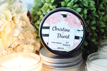 Black/White Strips & Pink Floral Soy Candle Favor- One Dozen, $4.95 each