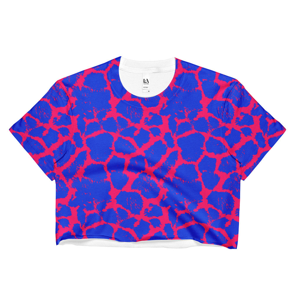 Blue Candy Giraffe Crop Top