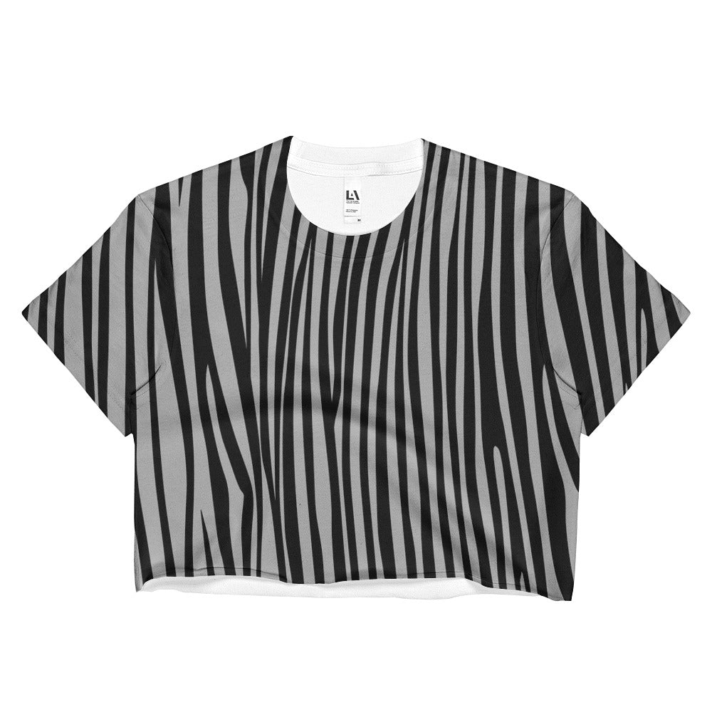 Ash Gray Zebra Crop Top