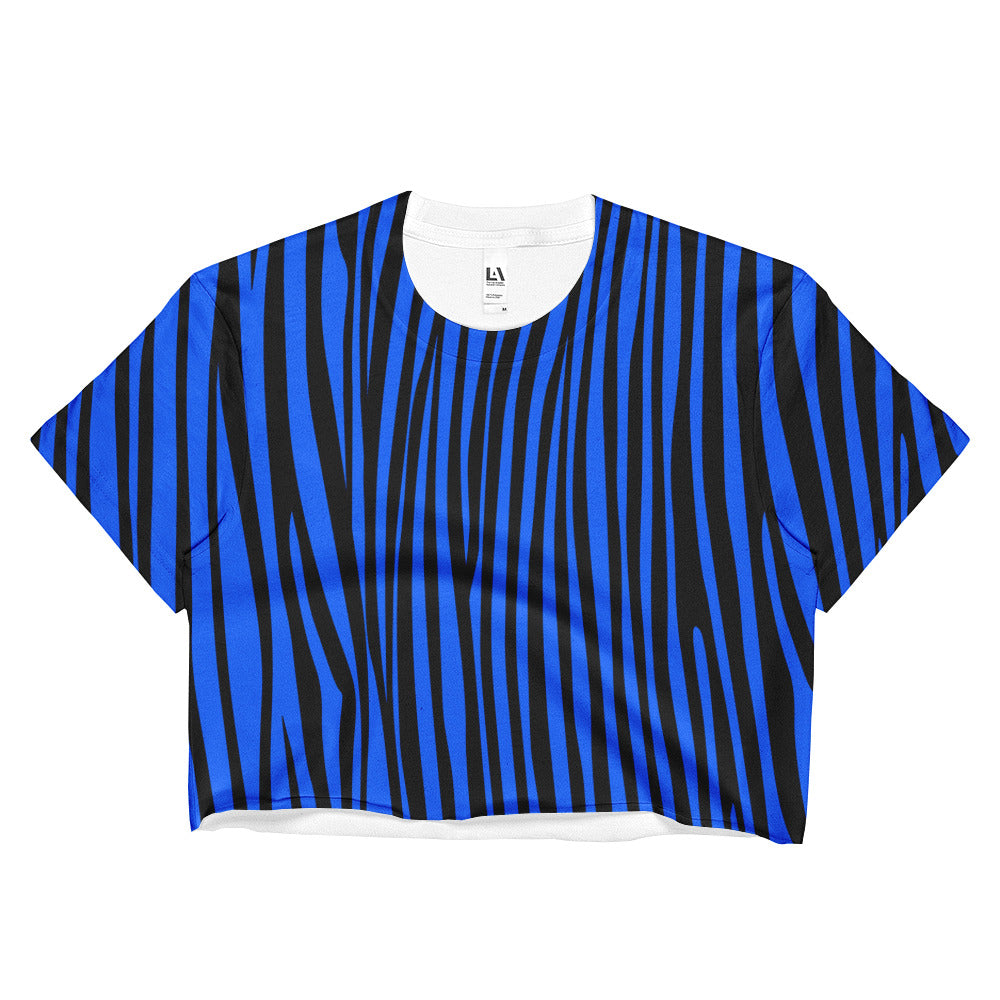 Electric Blue Zebra Crop Top