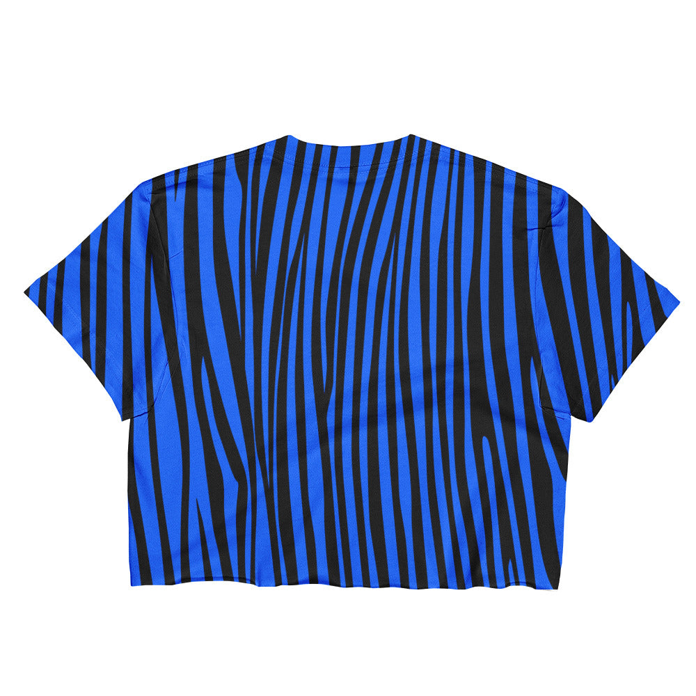 ZEBRA CROP ELECTRIC BLUE