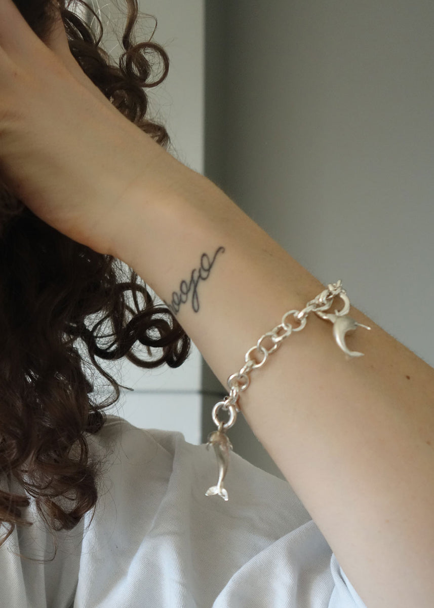 Female model with silver bracelet
