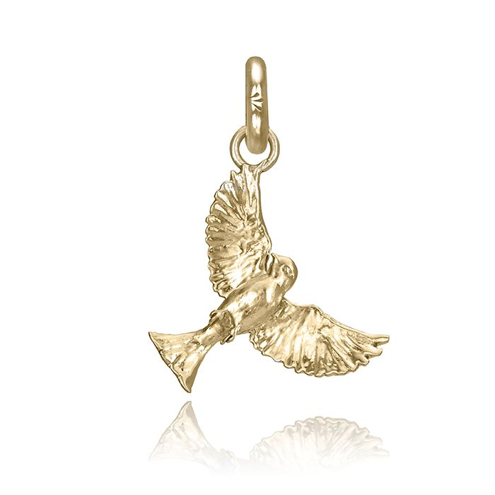 Swoup the Sparrow Charm, Yellow Gold