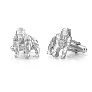 Solid Sterling Silver Gorilla Cufflinks, Handmade Animal Jewelry